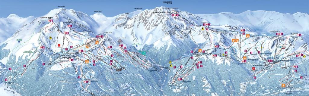 Plan du domaine skiable Paradiski - 2016