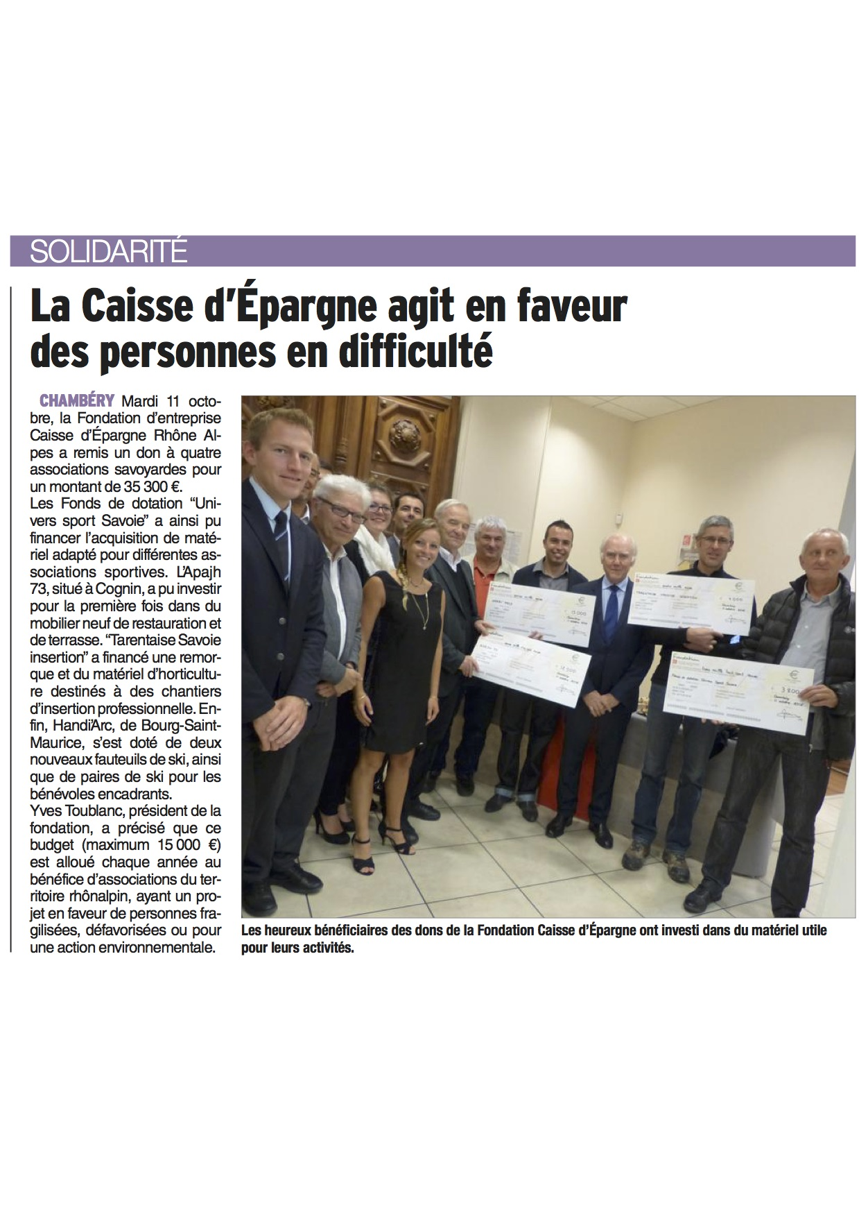 Remise Officielle Caisse d'Epargne Chambery