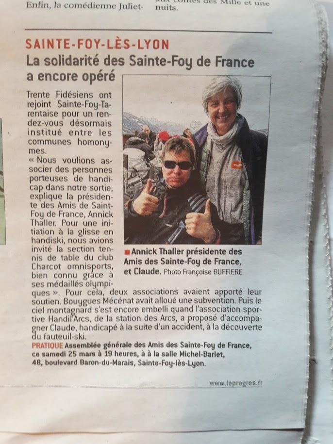 """Sortie ski du 19 Mars 2017 - Association """"Les Amis de Ste-Foy de France"""""""