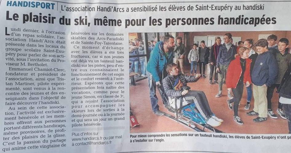 Sensibilisation des élèves de la Cité Scolaire de Bourg-Saint-Maurice